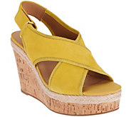 As Is Franco Sarto Suede or Leather Slingback Strap Wedges - Taylor - A287778