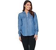 Peace Love World Button Front Distressed Denim Shirt - A288578