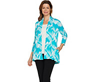 H by Halston Brush Stroke Print Open Front Cardigan - A289378