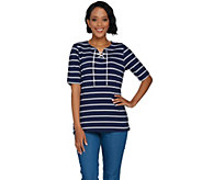 Denim & Co. Rope Stripe Printed Elbow Sleeve Lace Up Knit Top - A290278