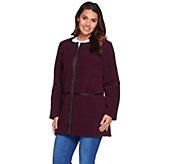 As Is Denim & Co. Zip Front Bonded Fleece & Sherpa Jacket w/ Faux Leather - A291178