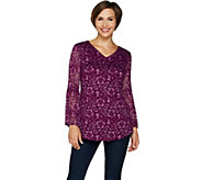 Isaac Mizrahi Live! Tonal Stretch Lace Bell Sleeve Tunic - A295978