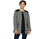 Dennis Basso Tweed Zip Front Jacket with Faux Leather Trim - A297478