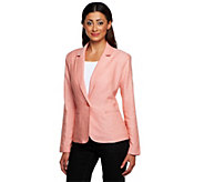 As IsKelly by Clinton Kelly Notch Collar Linen Blazer w/ Front Pockets - A298378