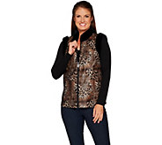 Bob Mackies Leopard Print Vest with Faux Fur Trim - A298678