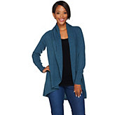 As Is Isaac Mizrahi Live! 2-Ply Cashmere Drape Front Cardigan - A305878