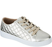 As Is Isaac Mizrahi Live! SOHO Metallic Quilted Lace-up Sneakers - A306178