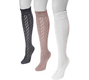 MUK LUKS Womens 3 Pair Pack Pointelle Knee High Socks - A361478