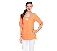 Denim & Co. Elbow Sleeve Knit Cardigan w/ Striped Duet - A213679