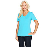 Susan Graver Essentials Stretch Cotton Gathered V-neck Top - A214179