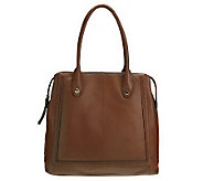 B. Makowsky Glove Leather ZipTop Magazine Tote with Rounded Handles - A225079