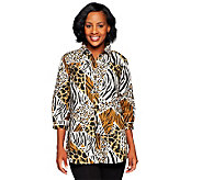 Joan Rivers Jigsaw Animal Print Boyfriend Shirt - A230479