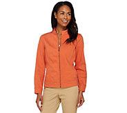 Liz Claiborne New York Zip Front Denim Jacket - A230679