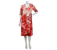 Kelly by Clinton Kelly V-Neck 3/4 Sleeve Printed Dress - A231479