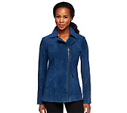 Denim & Co. Washable Suede Motorcycle Jacket with Pockets - A235679