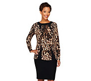 George Simonton Printed Milky Knit Top w/ Long Sleeves & Bateau Neck - A236279