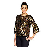Joan Rivers On the Town Sequin Jacket w/ 3/4 Sleeves - A237079
