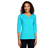 Denim & Co. Polka Dot Print 3/4 Sleeve Knit Top w/ Hardware Detail - A251379