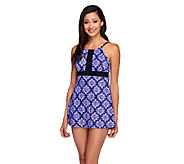 Fit 4 U Thighs Keyhole High-Neck Swim Dress - A252579