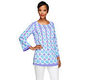Bob Mackies Circle Print Jersey Knit Long Sleeve Top - A254279