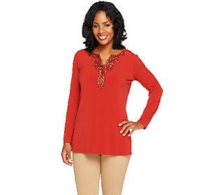 Product image of Susan Graver Liquid Knit Long Sleeve Embellished Neckline Tunic