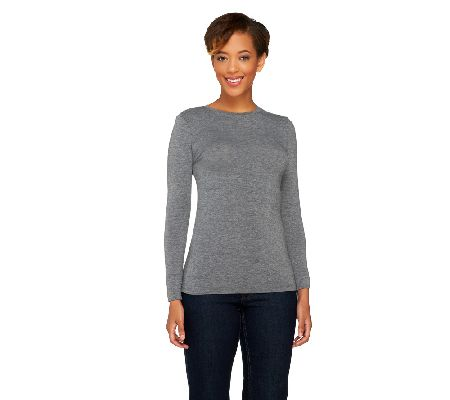 Cuddl Duds Softwear with Stretch Long Sleeve Crew Top - A258379