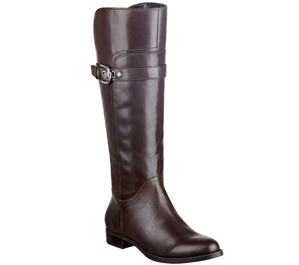 Marc Fisher Leather Wide Calf Riding Boots - Taite - Page 1 — QVC.com