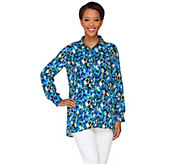 Joan Rivers Button Front Pansy Print Blouse - A262679