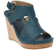 Me Too Leather Ankle Strap Wedges - Atlantic - A264779