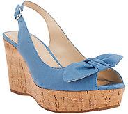 Franco Sarto Leather Sling-back Peep-toe Wedges - Vassi - A265579
