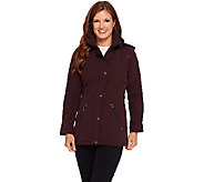 Liz Claiborne New York Softshell Jacket w/ Snap Details - A267679