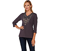 Bob Mackies Embellished 3/4 Sleeve Knit Top with V-Neckline - A268379