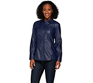 Denim & Co. Faux Leather Shirt with Seaming Detail - A270179