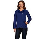 Denim & Co. Jersey Asymmetric Zip Front Jacket w/ Fleece Lining - A271579