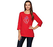 Quacker Factory Stars & Stripes Anchors Away 3/4 Sleeve T-shirt - A272879