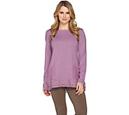 LOGO Lounge by Lori Goldstein Top with Embroidered Mesh Trim - A273379