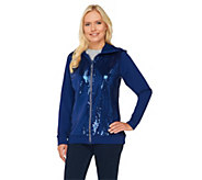 As Is Quacker Factory Long Sleeve Zip Front Sequin Jacket - A278179