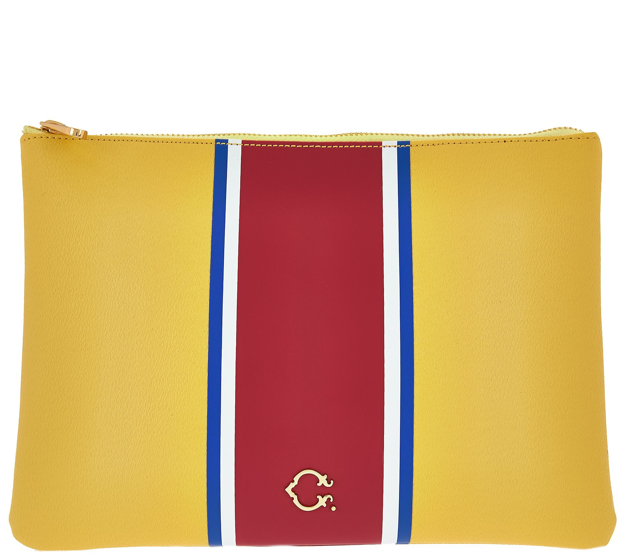 C. Wonder Large Racing Stripe Printed Zip Top Pouch with Hardware - A278279 — QVC.com