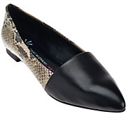 As Is Isaac Mizrahi Live! Leather Pointed Toe Flats - A278679
