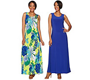 Attitudes by Renee Set of Two Solid & Printed Knit Dresses - A278779