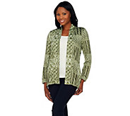 As Is Denim & Co. Printed Heavenly Jersey Open Front Cardigan - A279379