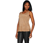 Women with Control Controlways Perforated Faux Suede Tank - A279579