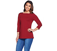 Susan Graver Artisan Embellished Stretch Cotton Modal Top - A279779