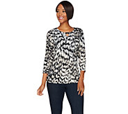 Susan Graver Printed Liquid Knit Top with Keyhole Trim - A282079