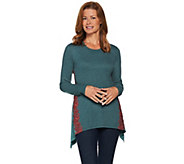 LOGO Lounge by Lori Goldstein Knit Top with Godets and Contrast Lace - A282179