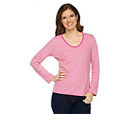 As Is Liz Claiborne New York Long Sleeve Striped T-shirt w/Lace - A282679