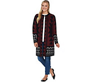 Studio by Denim & Co. Tribal Jacquard Open Front Cardigan - A283679