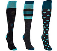Catawba Set of 3 Womens Wool Blend Fashion Knee High Socks - A284679