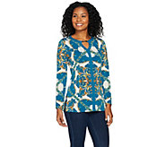 Susan Graver Printed Liquid Knit Tunic with Keyhole Trim - A284779
