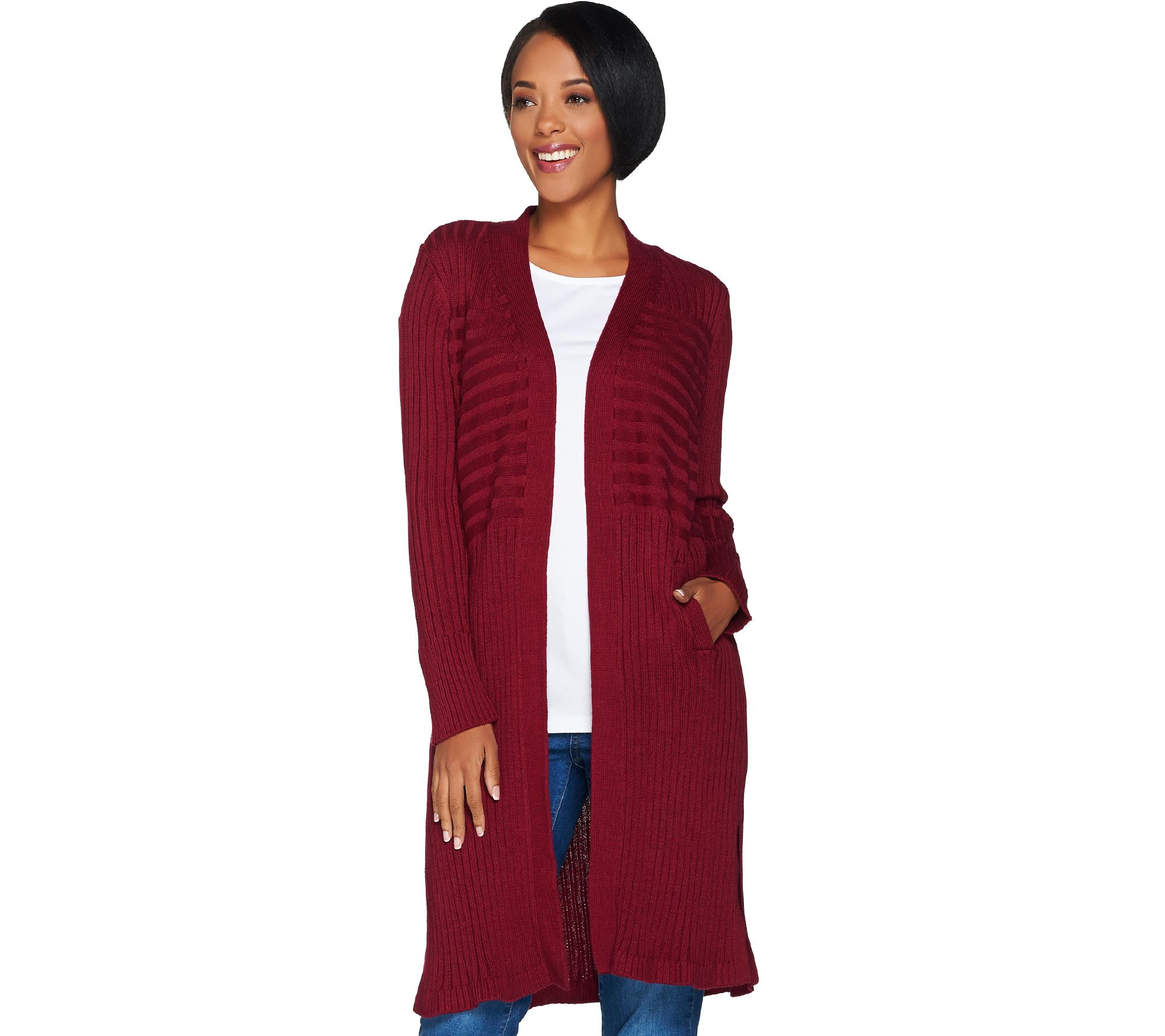 Isaac Mizrahi Live! Ribbed Open Front Duster Cardigan - Page 1 ...
